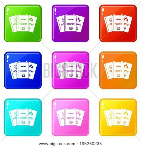 Passports icons of 9 color set isolated vector illustration