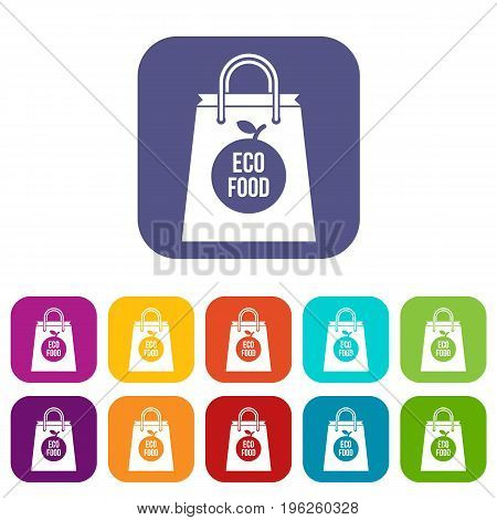 Eco food bag icons set vector illustration in flat style in colors red, blue, green, and other