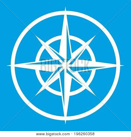 Sign of compass to determine cardinal directions icon white isolated on blue background vector illustration
