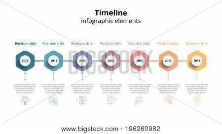 Business Timeline Workflow Infographics. Corporate Milestones Graphic Elements. Company Presentation