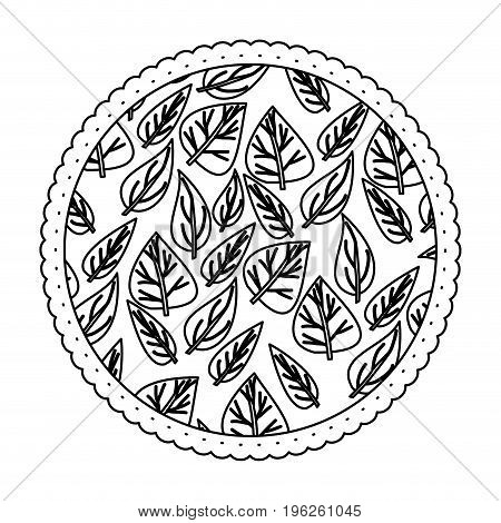 monochrome round frame with pattern of ovoid leaves vector illustration