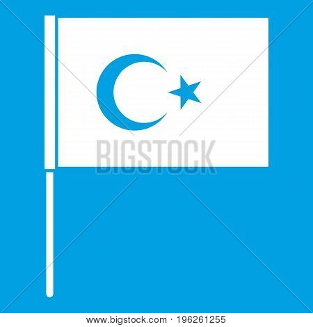 Turkish flag icon white isolated on blue background vector illustration