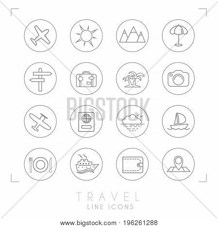 Outline thin travel and vacation icons set in circles. Airplane sun umbrella suitcase palms photo camera pass sea horizon yacht ship wallet map and points wooden arrows mountains.
