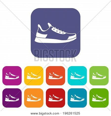 Sneaker icons set vector illustration in flat style in colors red, blue, green, and other
