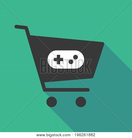 Long Shadow  Shopping Cart With A Game Pad