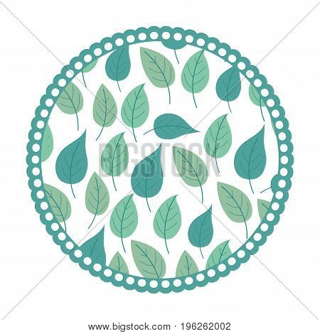 white background with colorful circular frame with pattern of ovoid leaves vector illustration