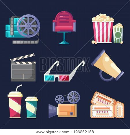 Set of vector flat colorful icons and elements with Cinema Movie film media industry