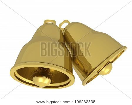 Two gold bells on white background, 3D illustration.
