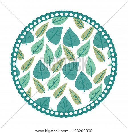 white background with colorful circular frame with pattern of cordiform leaves vector illustration