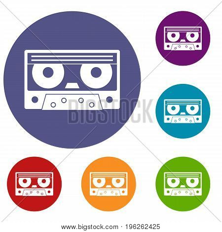 Audio cassette tape icons set in flat circle red, blue and green color for web