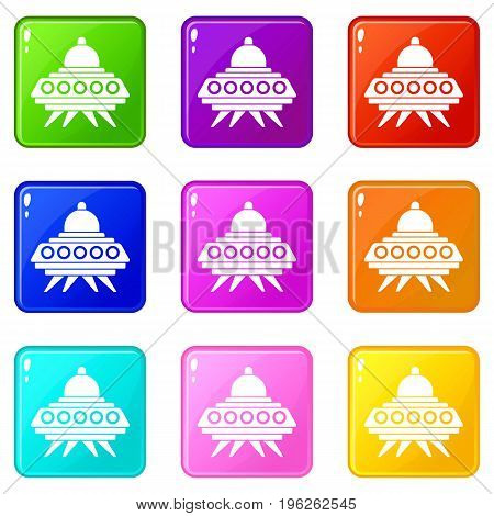 Alien spaceship icons of 9 color set isolated vector illustration