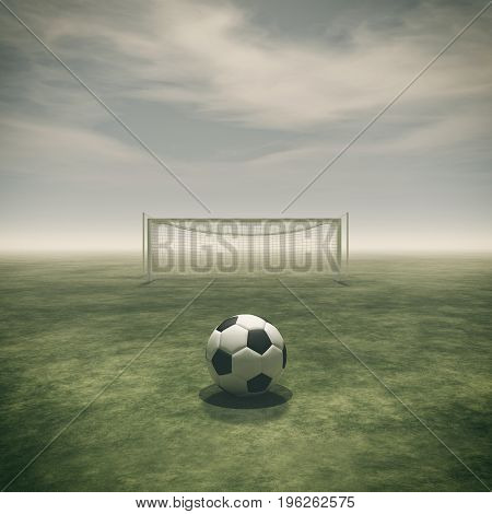 Soccer ball on a green grass and football gate empty. This is a 3d render illustration