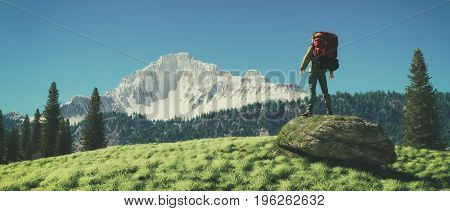 Traveler backpacking admire mountain scenery. This is a 3d render illustration