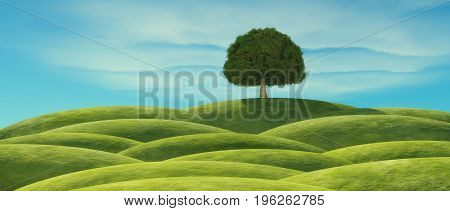 A tree with green leaves on the hill. This is a 3d render illustration