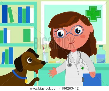 Woman veterinary in her office with a patient dog cartoon vector illustration