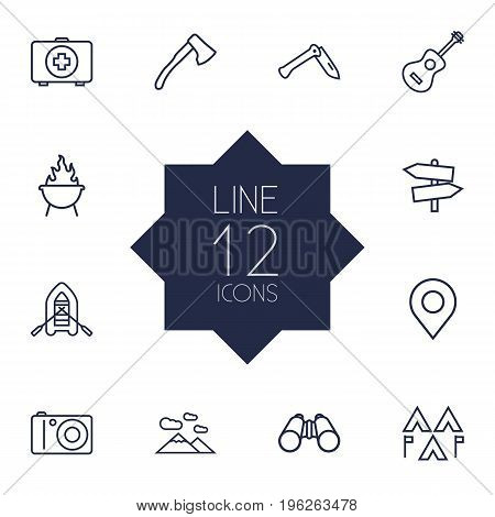 Set Of 12 Camping Outline Icons Set