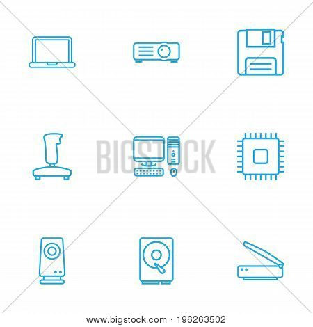 Set Of 9 Computer Outline Icons Set
