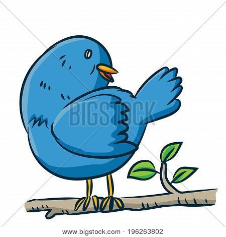 Colorful Cartoon a bird on branch of tree on white background - Vector clipart illustration