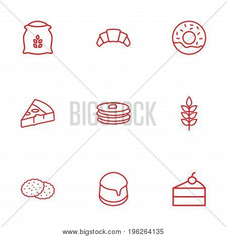 Set Of 9 Pastry Outline Icons Set