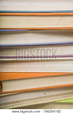 Stack of books. A lot of books are close-up.