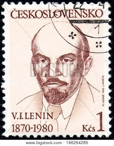 UKRAINE - CIRCA 2017: A stamp printed in Czechoslovakia shows Portrait of Vladimir Lenin from series Personality circa 1980