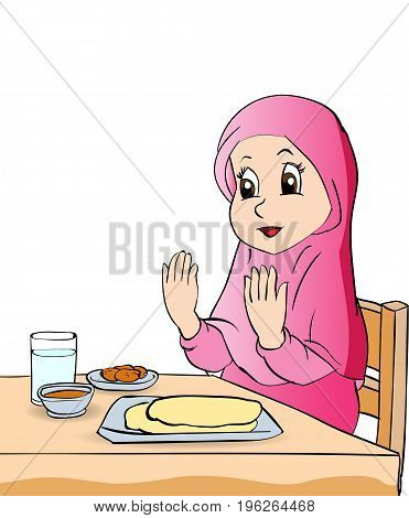 Colorful Cartoon girl make pray before eating on white background - Vector clipart illustration