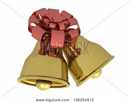 Two gold bells with ribbon against white background 3D illustration.