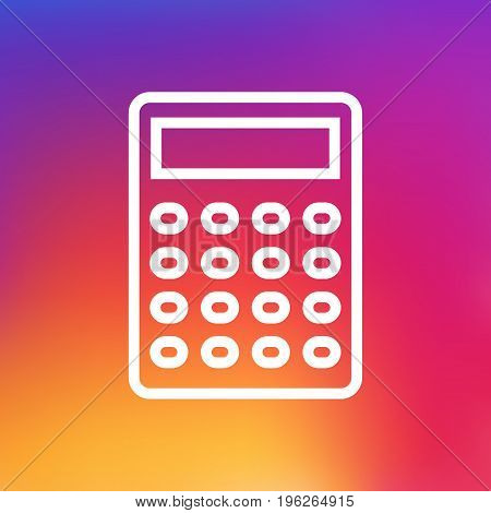 Isolated Calculate Outline Symbol On Clean Background