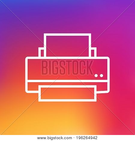 Isolated Printer Outline Symbol On Clean Background