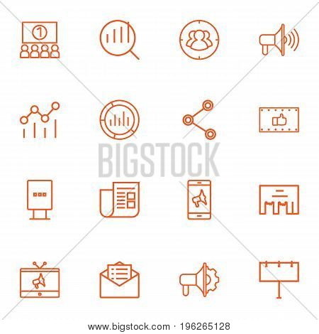 Set Of 16 Commercial Outline Icons Set