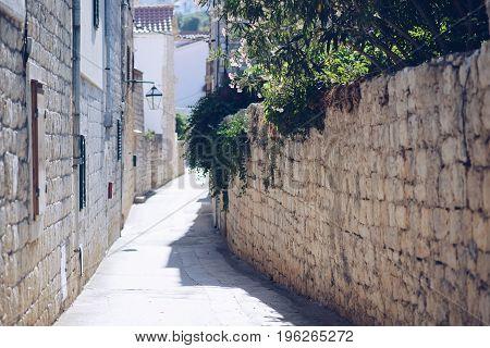 Old Ancient Narrow Street Of Hvar