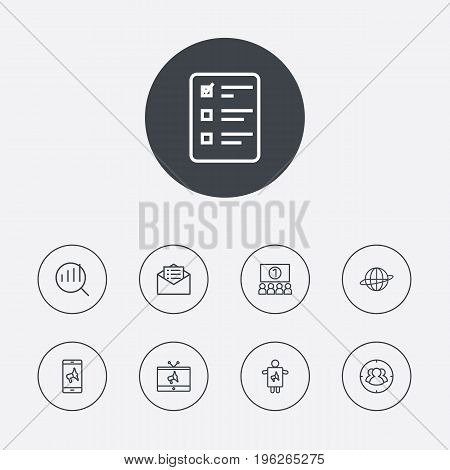 Set Of 9 Commercial Outline Icons Set