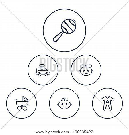 Set Of 6 Child Outline Icons Set