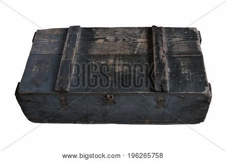 Old square wooden crate with lid closed and isolated on white background with clipping path