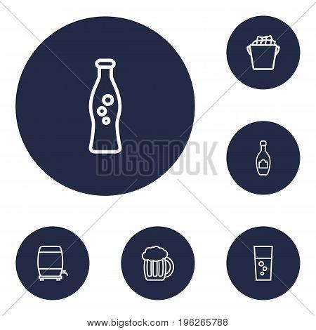 Set Of 6 Beverages Outline Icons Set