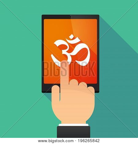 Long Shadow Tablet Pc With An Om Sign