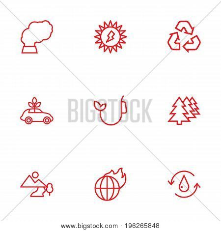 Set Of 9 Bio Outline Icons Set