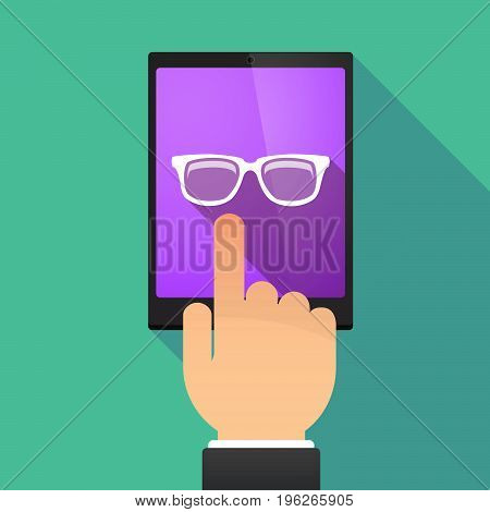 Long Shadow Tablet Pc With A Glasses