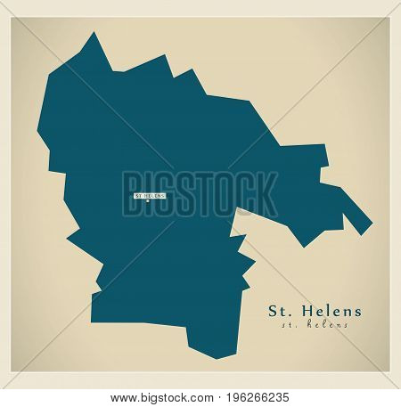 Modern Map - St. Helens District Of Merseyside Uk England