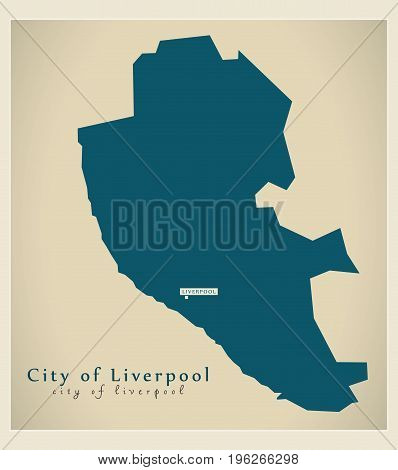Modern Map - City Of Liverpool District Of Merseyside Uk England
