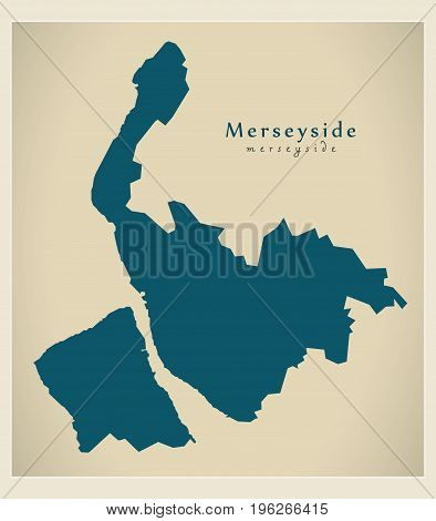 Modern Map - Merseyside Metropolitan County Uk England