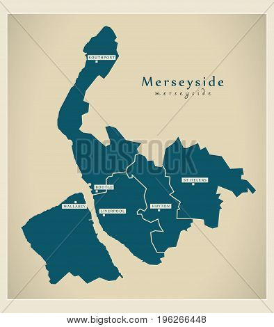 Modern Map - Merseyside Metropolitan County With Districts And Cities Uk England