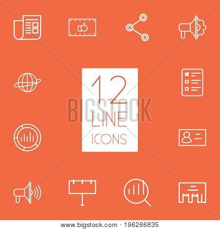 Set Of 12 Trade Outline Icons Set