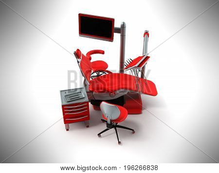 Dental Chair With Side Tables Red 3D Render On Gray Background