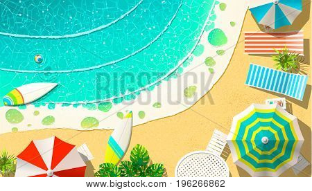 Vector illustration of shore with deck chairs and surfboards at wavy ocean.