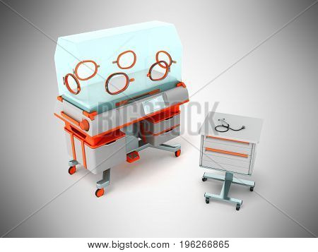 Incubator For Children Orange With Bedside Table 3D Render On Gray Background