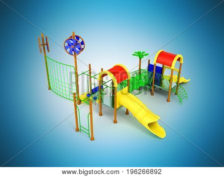 Playground Slide For Children Red Yellow 3D Render On Blue Background