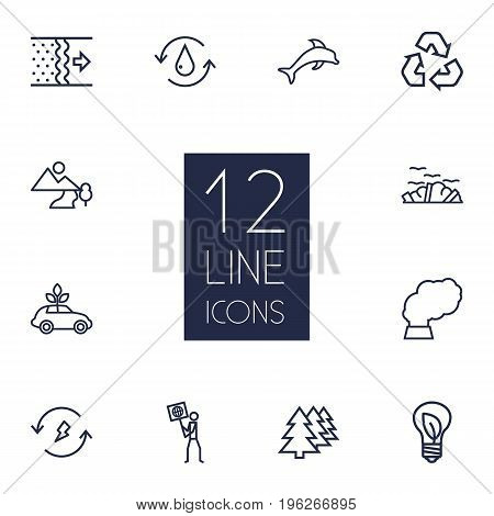 Set Of 12 Ecology Outline Icons Set