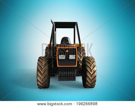 Tractor Orange Front 3D Render On Blue Background