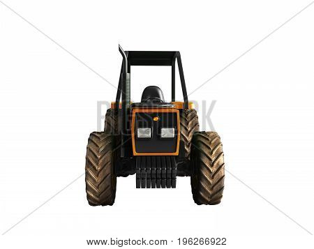 Tractor Orange Front 3D Render On White Background No Shadow